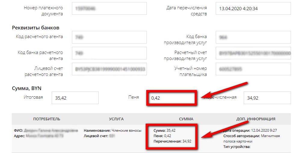 Детали платежа с указанием уплаченной пени